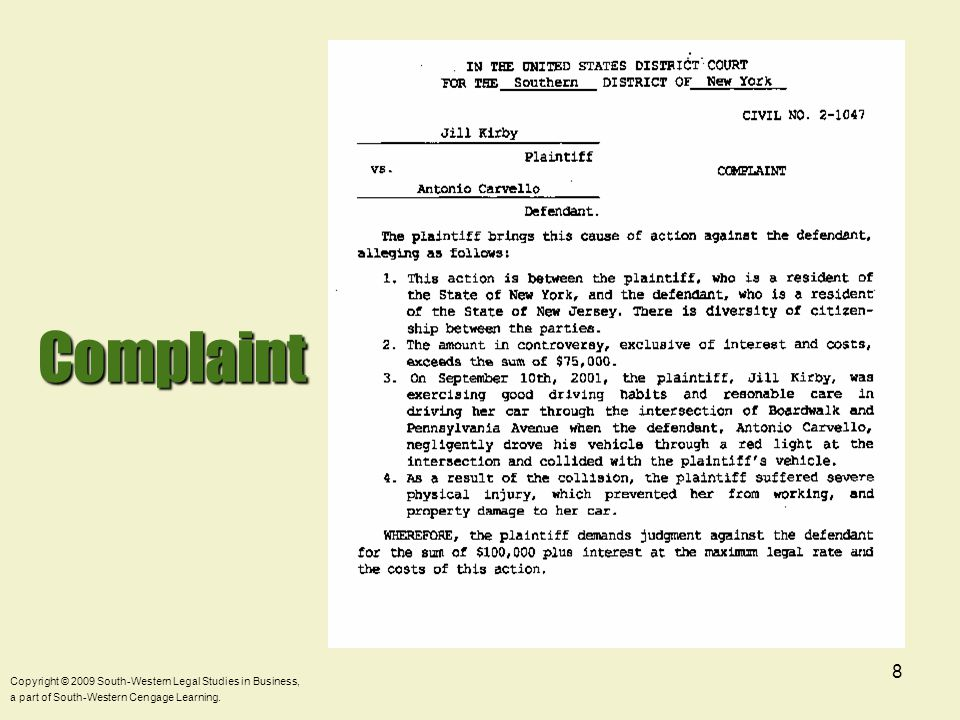 9Pleadings-Service  Defendant served with Complaint and Summons.