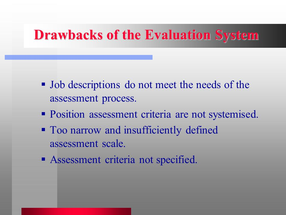 Drawbacks of the Evaluation System  Job descriptions do not meet the needs of the assessment process.