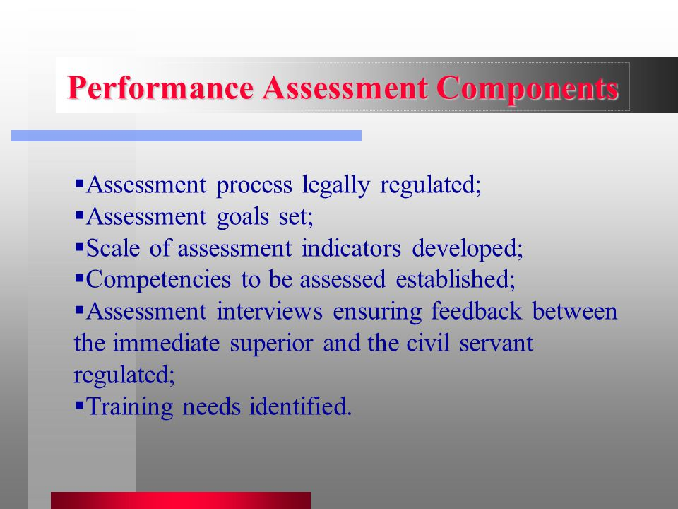  Assessment process legally regulated;  Assessment goals set;  Scale of assessment indicators developed;  Competencies to be assessed established;
