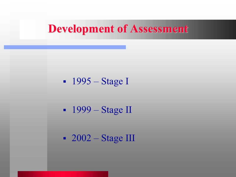 Development of Assessment  1995 – Stage I  1999 – Stage II  2002 – Stage III
