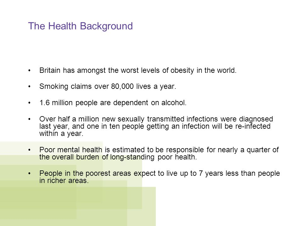 The Health Background Britain has amongst the worst levels of obesity in the world.