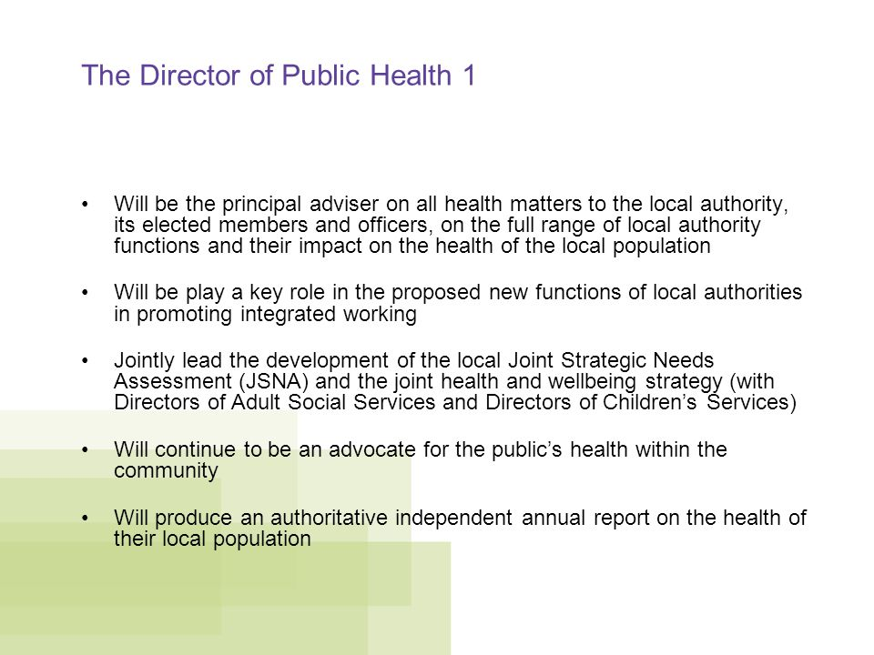 The Director of Public Health 1 Will be the principal adviser on all health matters to the local authority, its elected members and officers, on the full range of local authority functions and their impact on the health of the local population Will be play a key role in the proposed new functions of local authorities in promoting integrated working Jointly lead the development of the local Joint Strategic Needs Assessment (JSNA) and the joint health and wellbeing strategy (with Directors of Adult Social Services and Directors of Children's Services) Will continue to be an advocate for the public's health within the community Will produce an authoritative independent annual report on the health of their local population