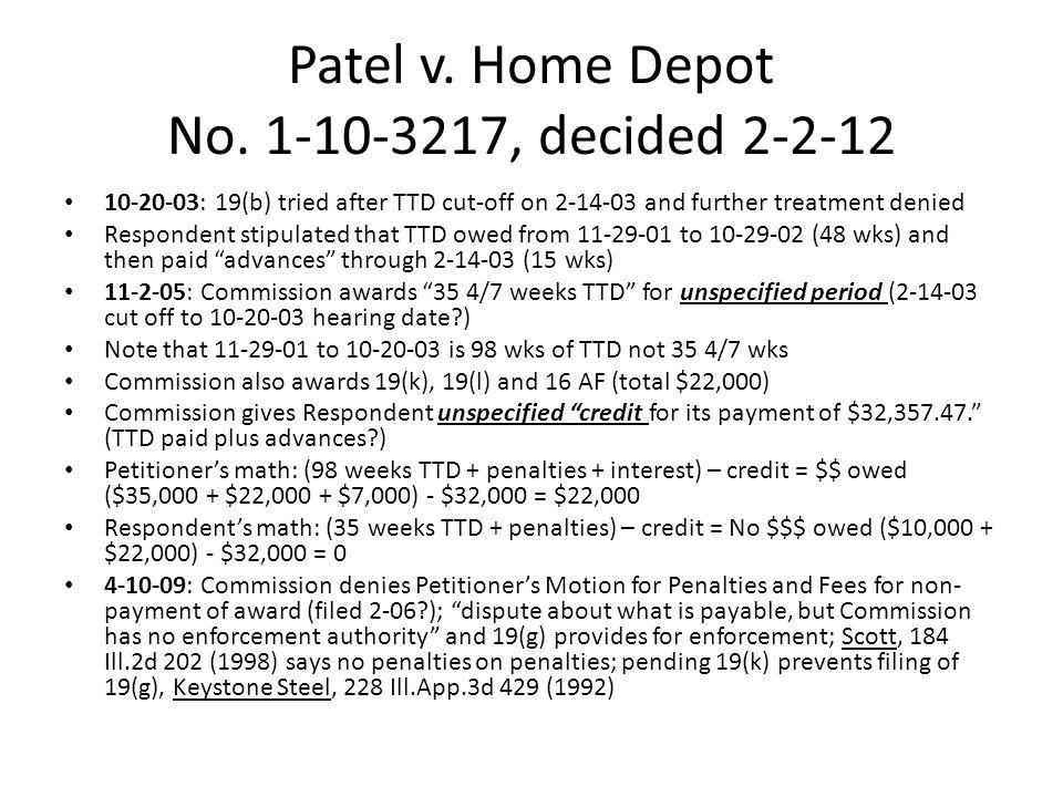 Patel v.Home Depot No.