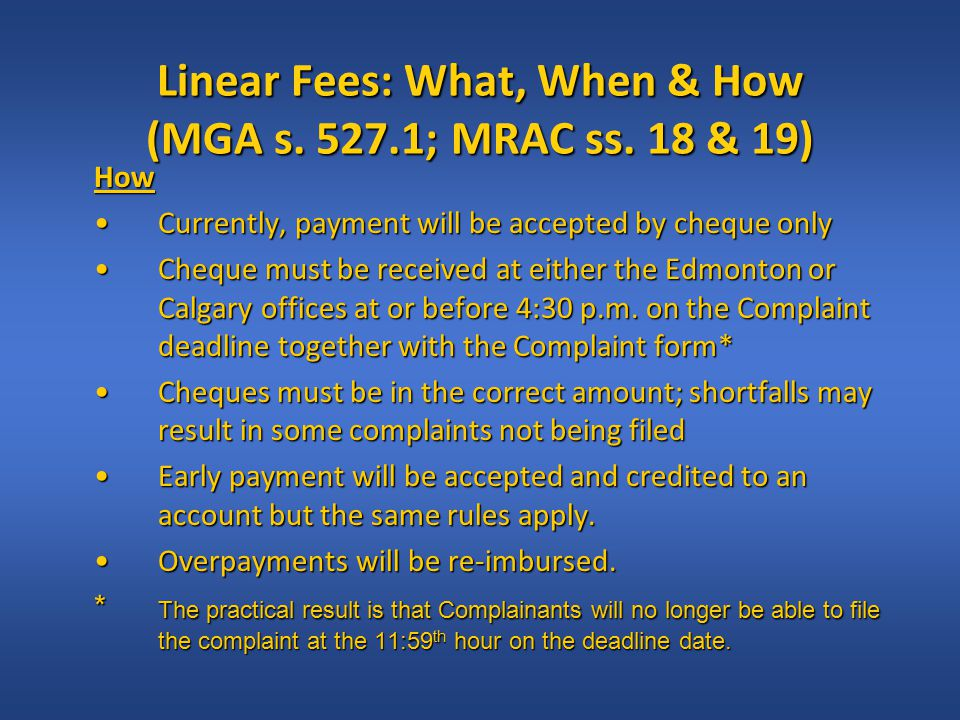 Linear Fees: What, When & How (MGA s. 527.1; MRAC ss.