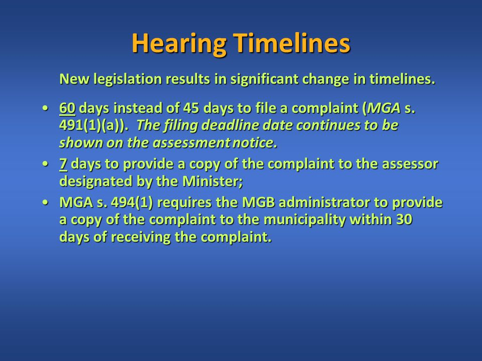 Hearing Timelines New legislation results in significant change in timelines.