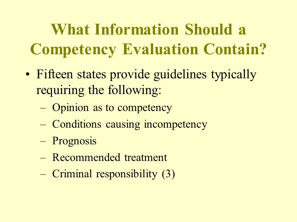 What Information Should a Competency Evaluation Contain.