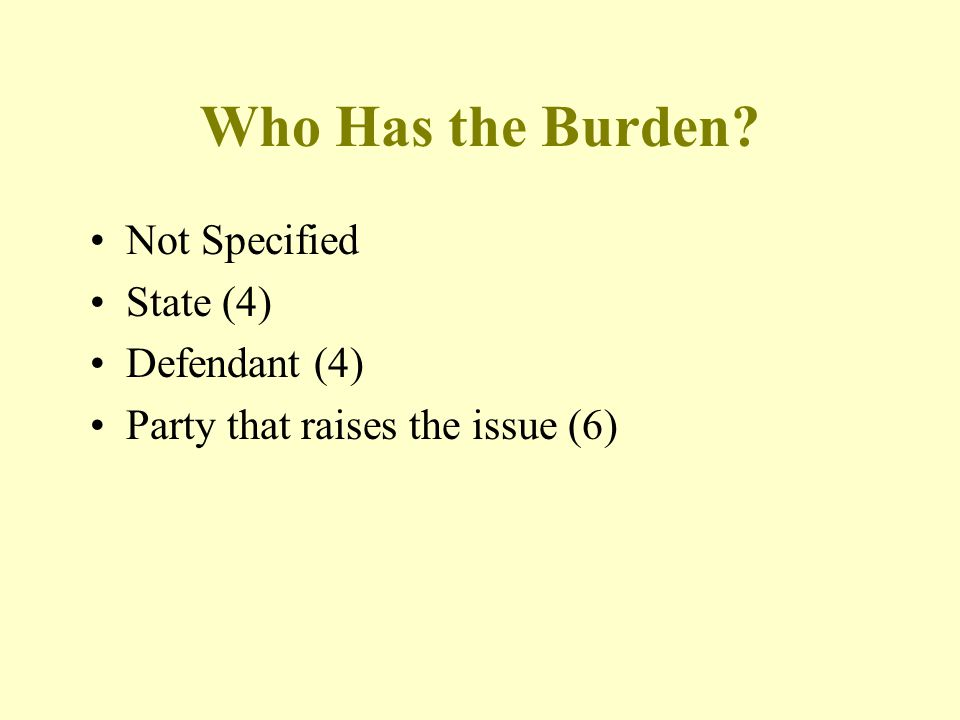 Who Has the Burden? Not Specified State (4) Defendant (4) Party that raises the issue (6)