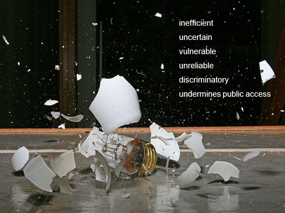 CRICOS No. 000213J a university for the world real R inefficient uncertain vulnerable unreliable discriminatory undermines public access