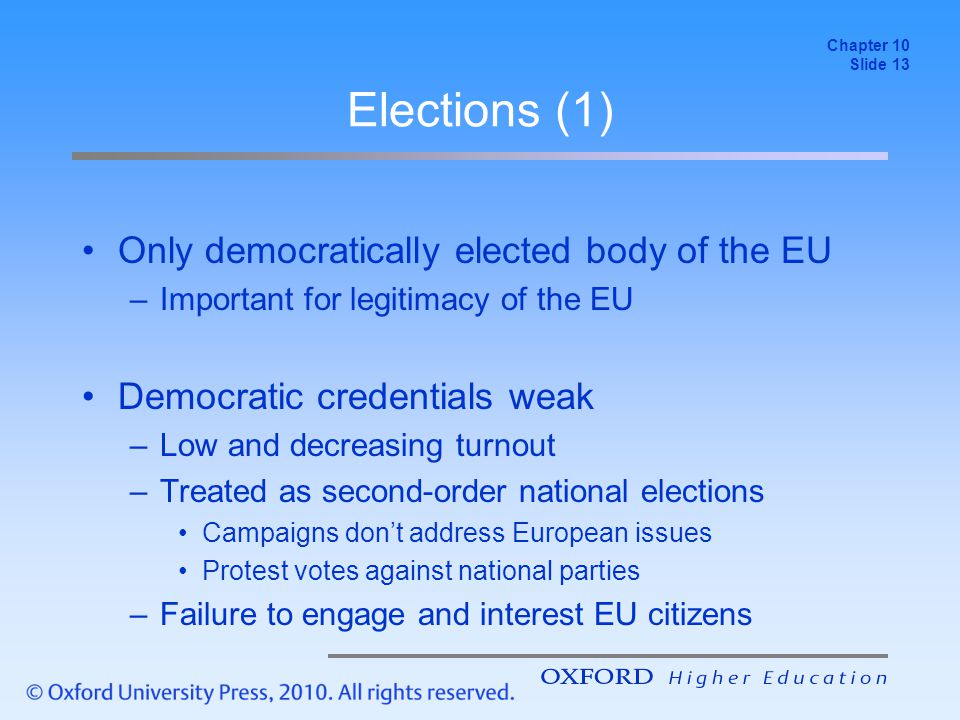 Elections (1) Only democratically elected body of the EU –Important for legitimacy of the EU Democratic credentials weak –Low and decreasing turnout –Treated as second-order national elections Campaigns don't address European issues Protest votes against national parties –Failure to engage and interest EU citizens Chapter 10 Slide 13