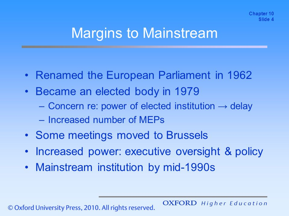 Lecture Review From margins to mainstream Internally complex organisation Lack of popular interest Principal concern of EP –Increasing power → addressing democratic deficit Chapter 10 Slide 15