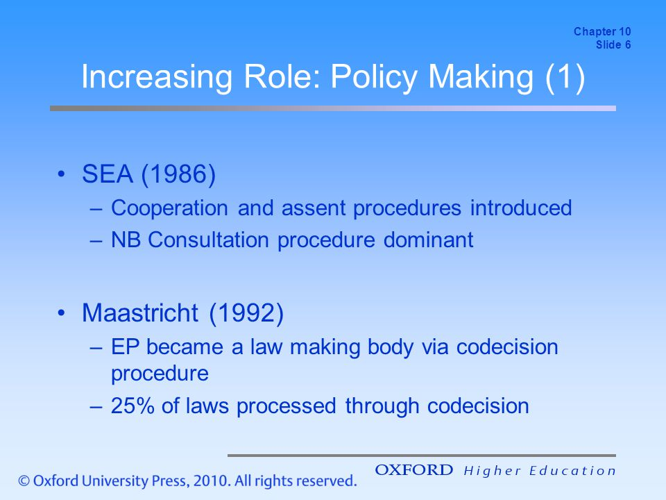 Increasing Role: Policy Making (1) SEA (1986) –Cooperation and assent procedures introduced –NB Consultation procedure dominant Maastricht (1992) –EP became a law making body via codecision procedure –25% of laws processed through codecision Chapter 10 Slide 6