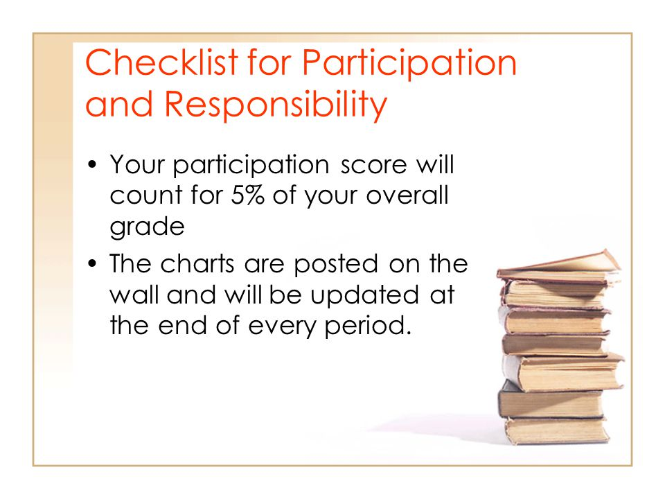 Checklist for Participation and Responsibility Your participation score will count for 5% of your overall grade The charts are posted on the wall and will be updated at the end of every period.