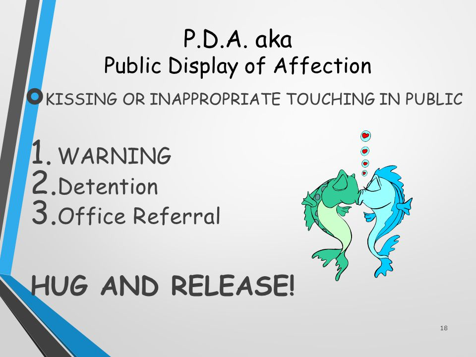 P.D.A. aka Public Display of Affection  KISSING OR INAPPROPRIATE TOUCHING IN PUBLIC 1.