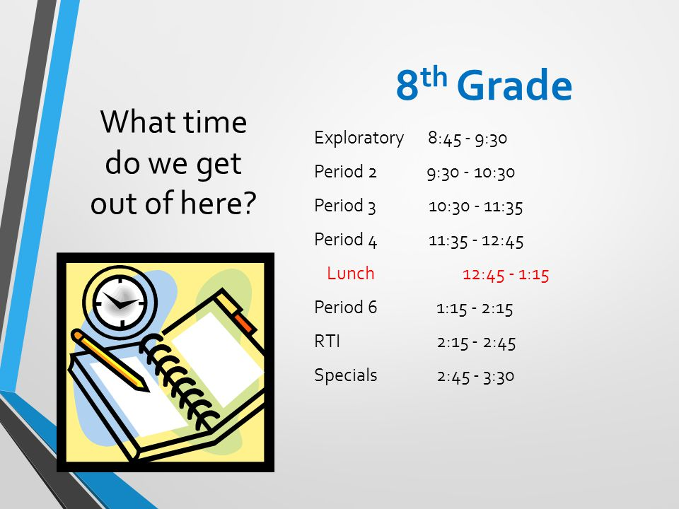 What time do we get out of here? 8 th Grade Exploratory 8:45 - 9:30 Period 2 9:30 - 10:30 Period 3 10:30 - 11:35 Period 411:35 - 12:45 Lunch12:45 - 1: