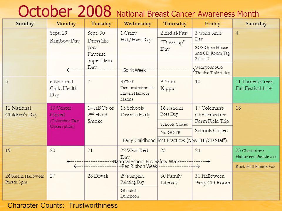 October 2008 National Breast Cancer Awareness Month SundayMondayTuesdayWednesdayThursdayFridaySaturday Sept.