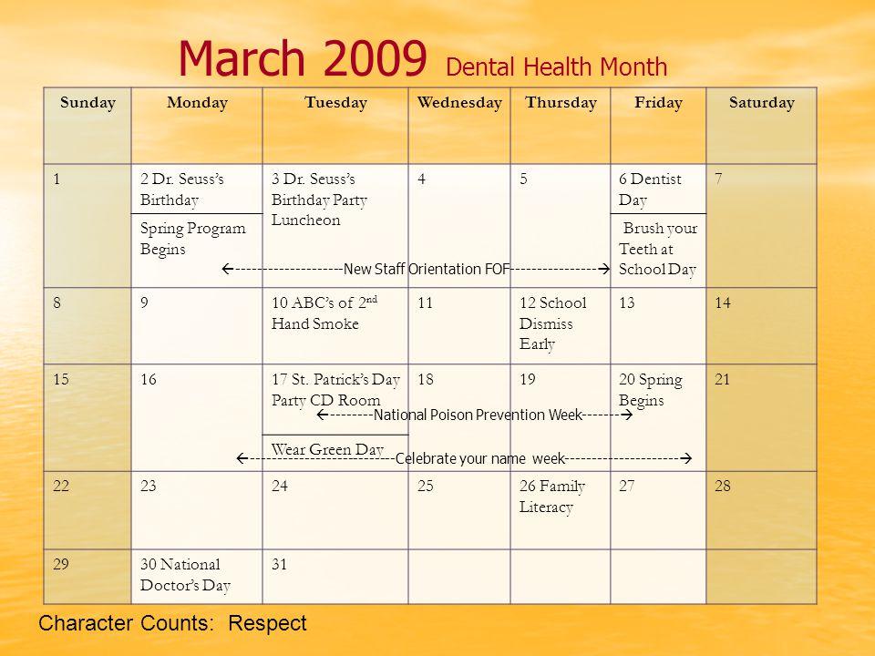 March 2009 Dental Health Month SundayMondayTuesdayWednesdayThursdayFridaySaturday 12 Dr.