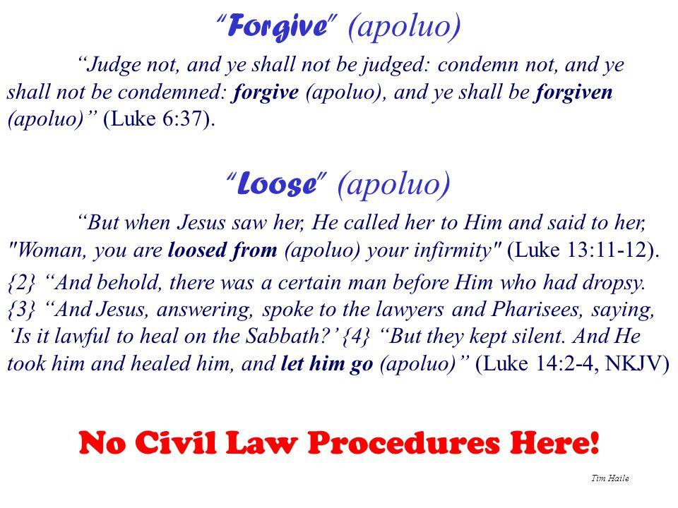 "Tim Haile ""Forgive"" (apoluo) ""Judge not, and ye shall not be judged: condemn not, and ye shall not be condemned: forgive (apoluo), and ye shall be for"