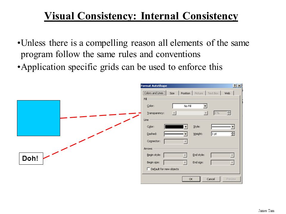 James Tam Visual Consistency: Internal Consistency Unless there is a compelling reason all elements of the same program follow the same rules and conv