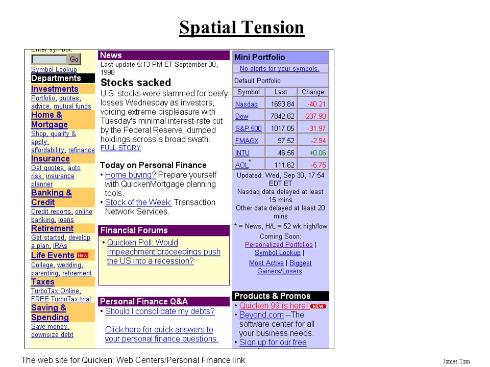 James Tam Spatial Tension The web site for Quicken: Web Centers/Personal Finance link