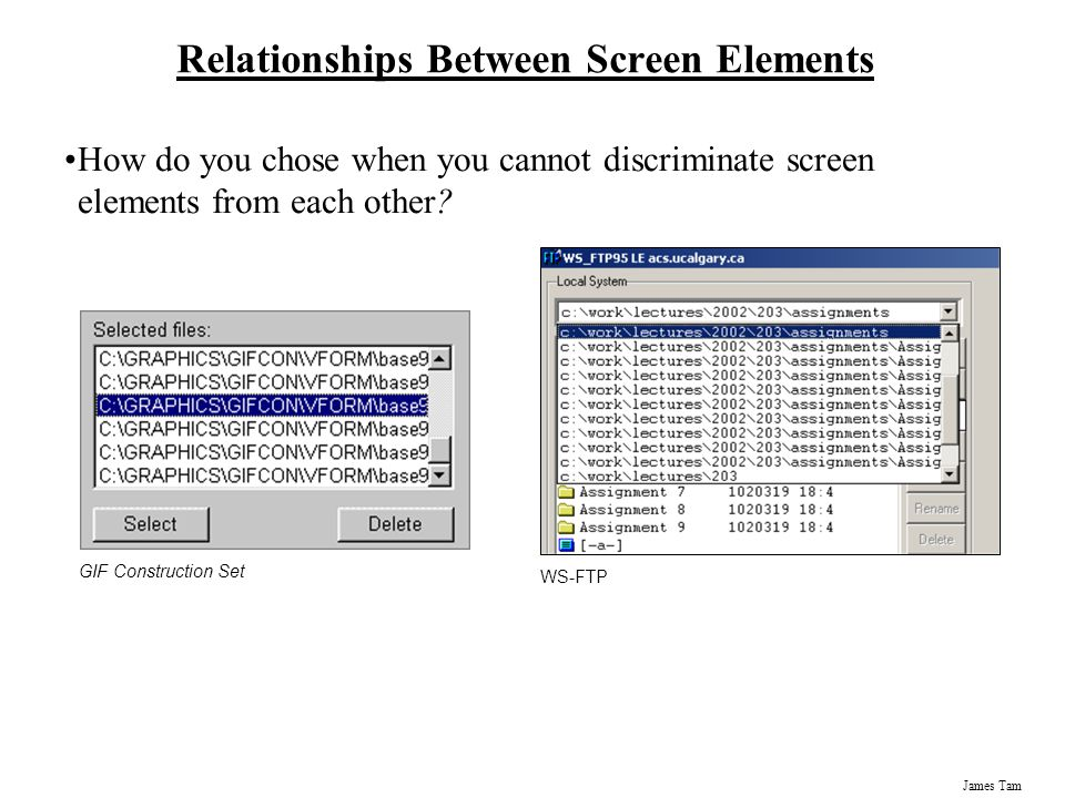 James Tam Relationships Between Screen Elements How do you chose when you cannot discriminate screen elements from each other? GIF Construction Set WS