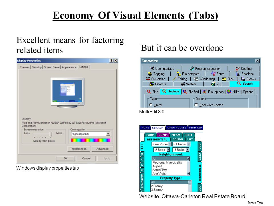 James Tam Economy Of Visual Elements (Tabs) Excellent means for factoring related items But it can be overdone Windows display properties tab MultiEdi