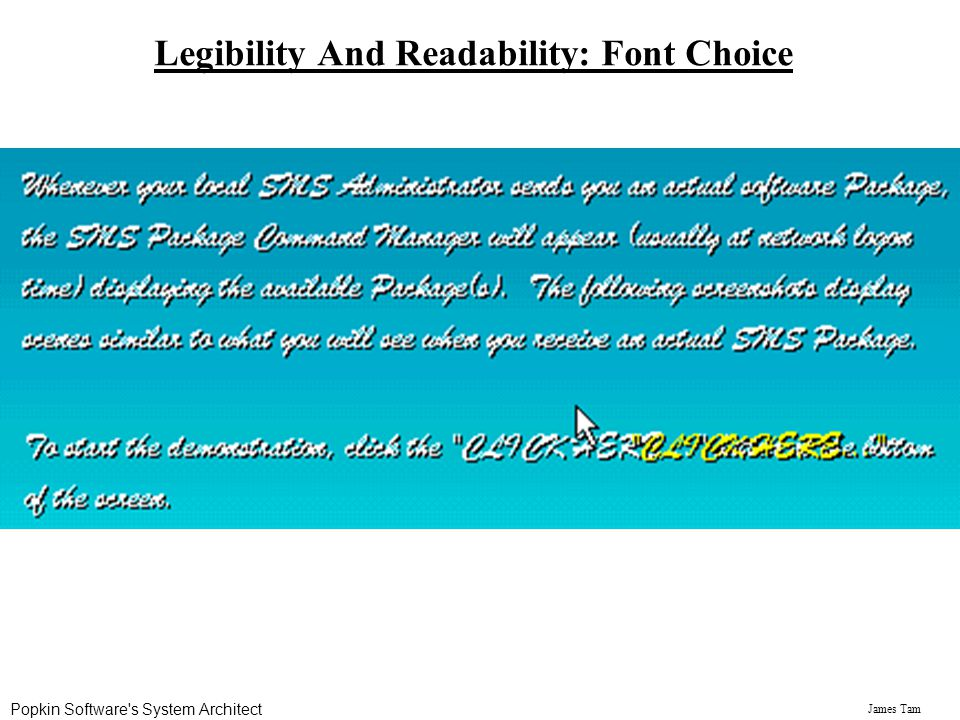 James Tam Legibility And Readability: Font Choice Popkin Software's System Architect