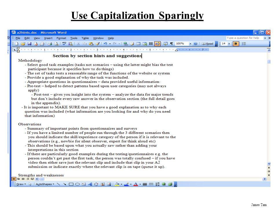 James Tam Use Capitalization Sparingly