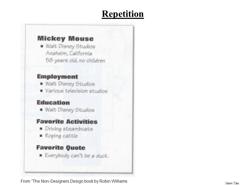 """James Tam Repetition From """"The Non-Designers Design book by Robin Williams"""