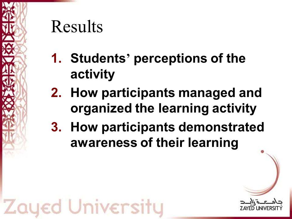 Results 1.Students ' perceptions of the activity 2.How participants managed and organized the learning activity 3.How participants demonstrated awareness of their learning