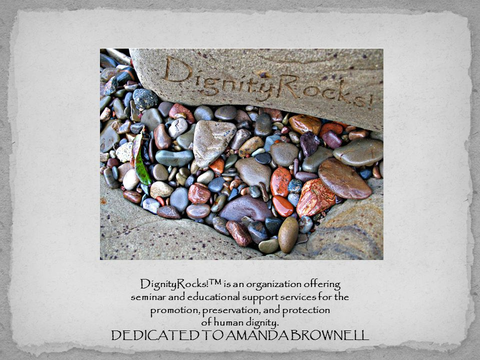 DignityRocks!™ is an organization offering seminar and educational support services for the promotion, preservation, and protection of human dignity.