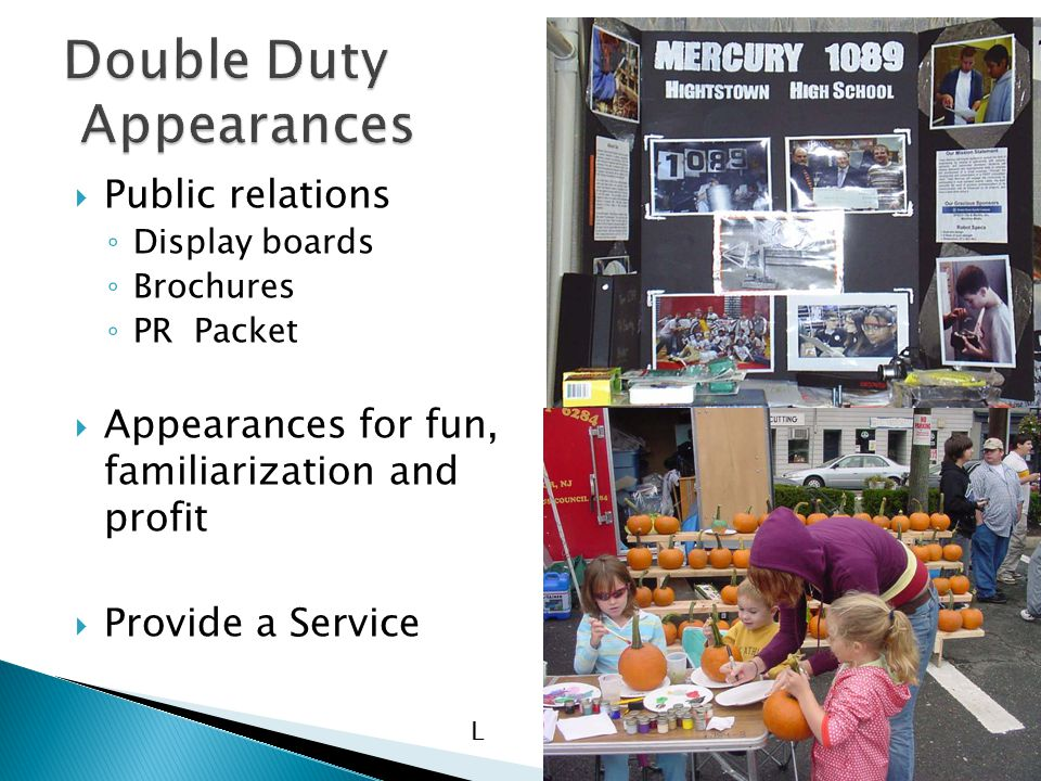  Public relations ◦ Display boards ◦ Brochures ◦ PR Packet  Appearances for fun, familiarization and profit  Provide a Service L