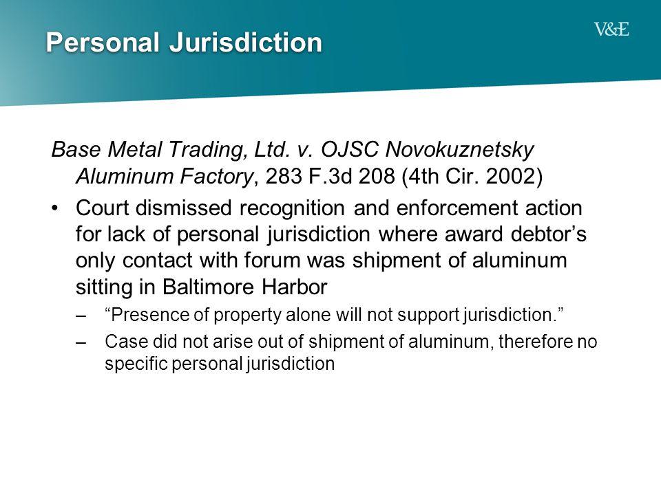 Personal Jurisdiction Base Metal Trading, Ltd. v.