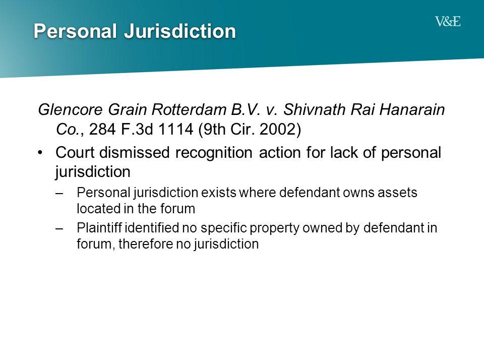 Personal Jurisdiction Glencore Grain Rotterdam B.V.