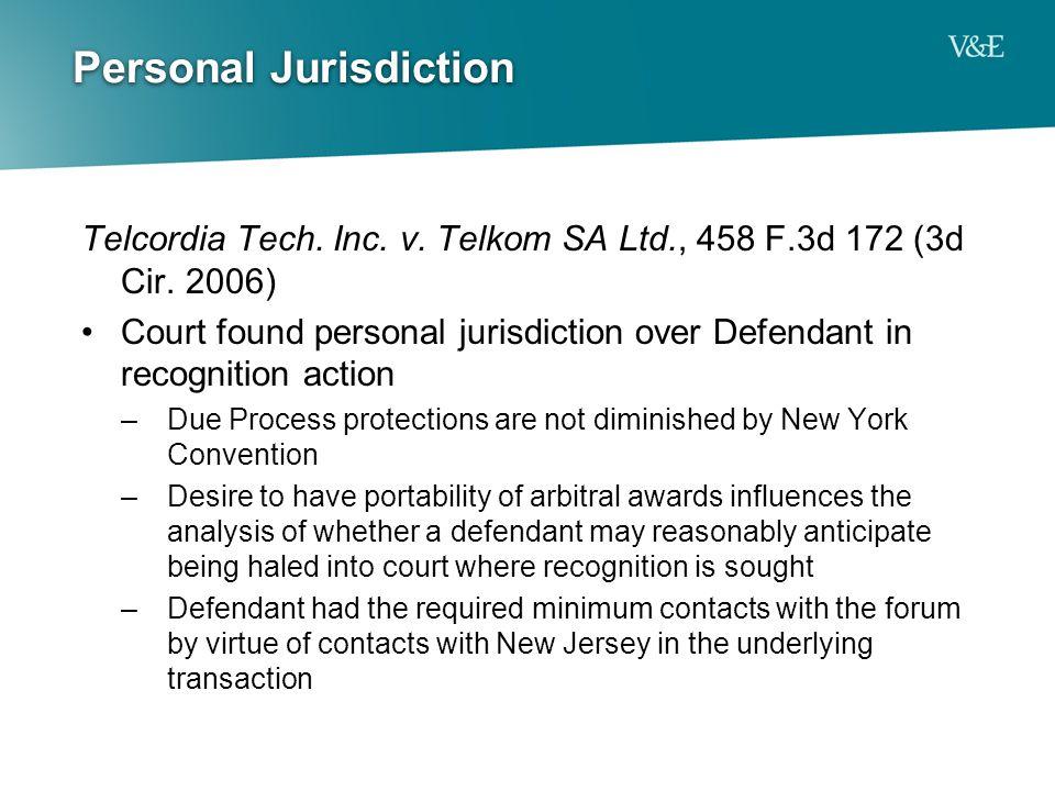 Personal Jurisdiction Telcordia Tech. Inc. v. Telkom SA Ltd., 458 F.3d 172 (3d Cir.