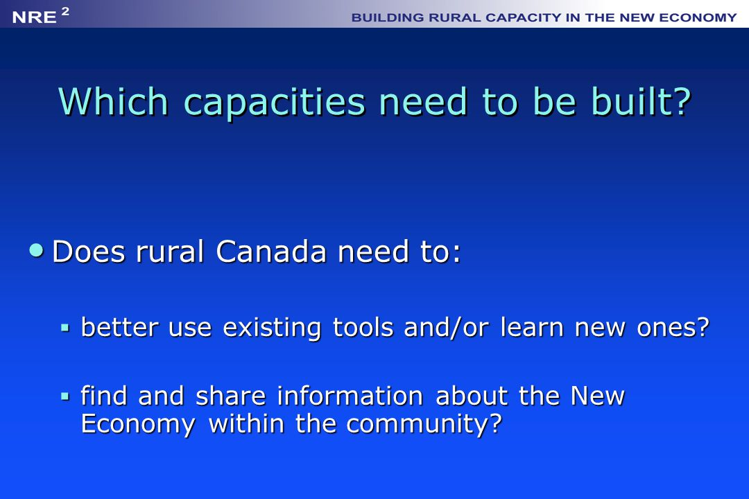 Which capacities need to be built.