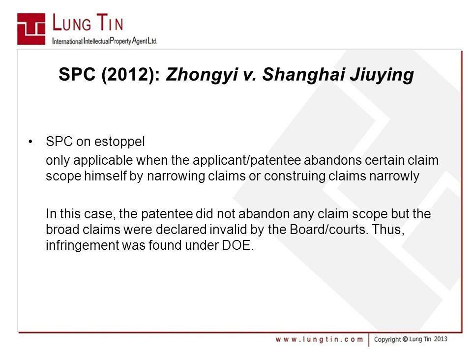 SPC (2012): Zhongyi v.