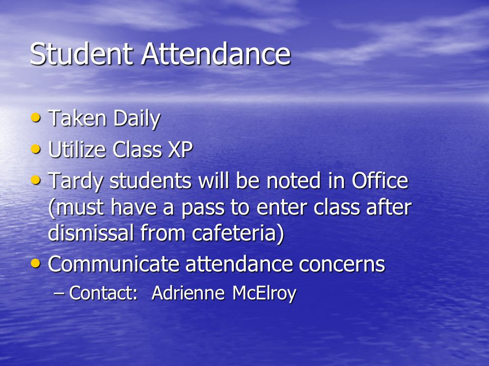 Student Arrival/Dismissal Arrival Arrival –7:00-7:30 to cafeteria –Teachers will dismiss from cafeteria in an orderly manner Dismissal Dismissal –Organize students by dismissal areas –Escort students to dismissal areas Car Riders (to be seated by grade level against railings) Car Riders (to be seated by grade level against railings) YMCA YMCA Bus Riders Bus Riders