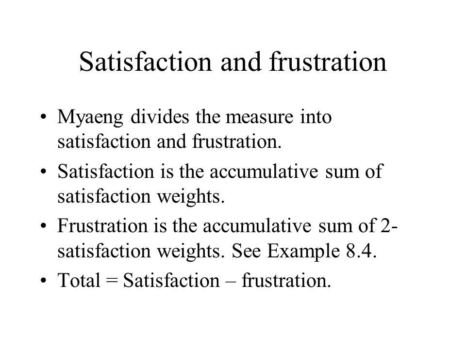 Satisfaction and frustration Myaeng divides the measure into satisfaction and frustration. Satisfaction is the accumulative sum of satisfaction weight