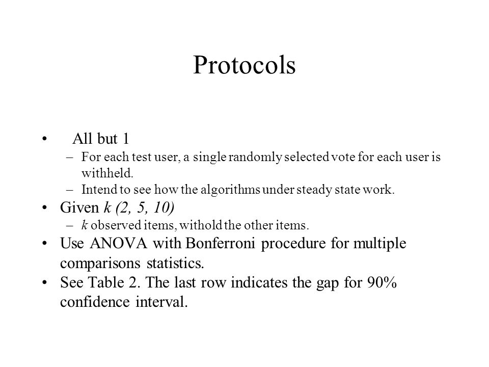 Protocols All but 1 –For each test user, a single randomly selected vote for each user is withheld. –Intend to see how the algorithms under steady sta