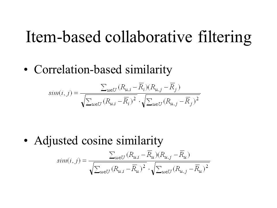 Item-based collaborative filtering Correlation-based similarity Adjusted cosine similarity