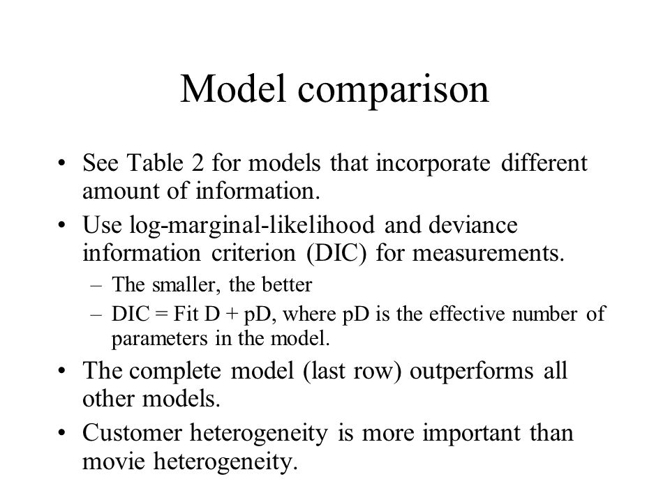 Model comparison See Table 2 for models that incorporate different amount of information. Use log-marginal-likelihood and deviance information criteri