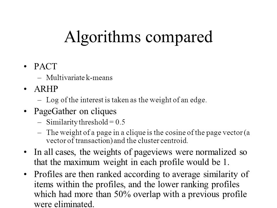 Algorithms compared PACT –Multivariate k-means ARHP –Log of the interest is taken as the weight of an edge. PageGather on cliques –Similarity threshol