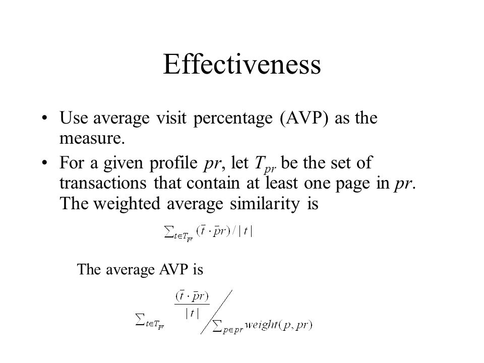 Effectiveness Use average visit percentage (AVP) as the measure. For a given profile pr, let T pr be the set of transactions that contain at least one