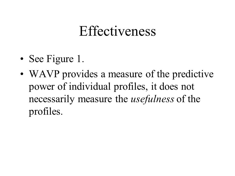 Effectiveness See Figure 1. WAVP provides a measure of the predictive power of individual profiles, it does not necessarily measure the usefulness of
