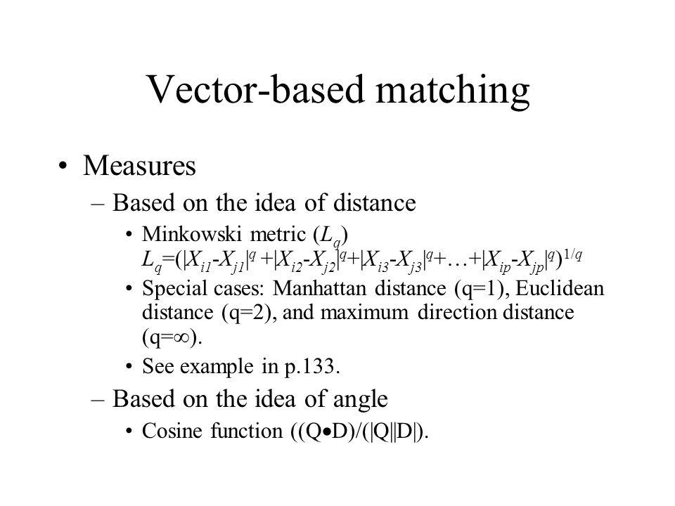 Vector-based matching Measures –Based on the idea of distance Minkowski metric (L q ) L q =(|X i1 -X j1 | q +|X i2 -X j2 | q +|X i3 -X j3 | q +…+|X ip