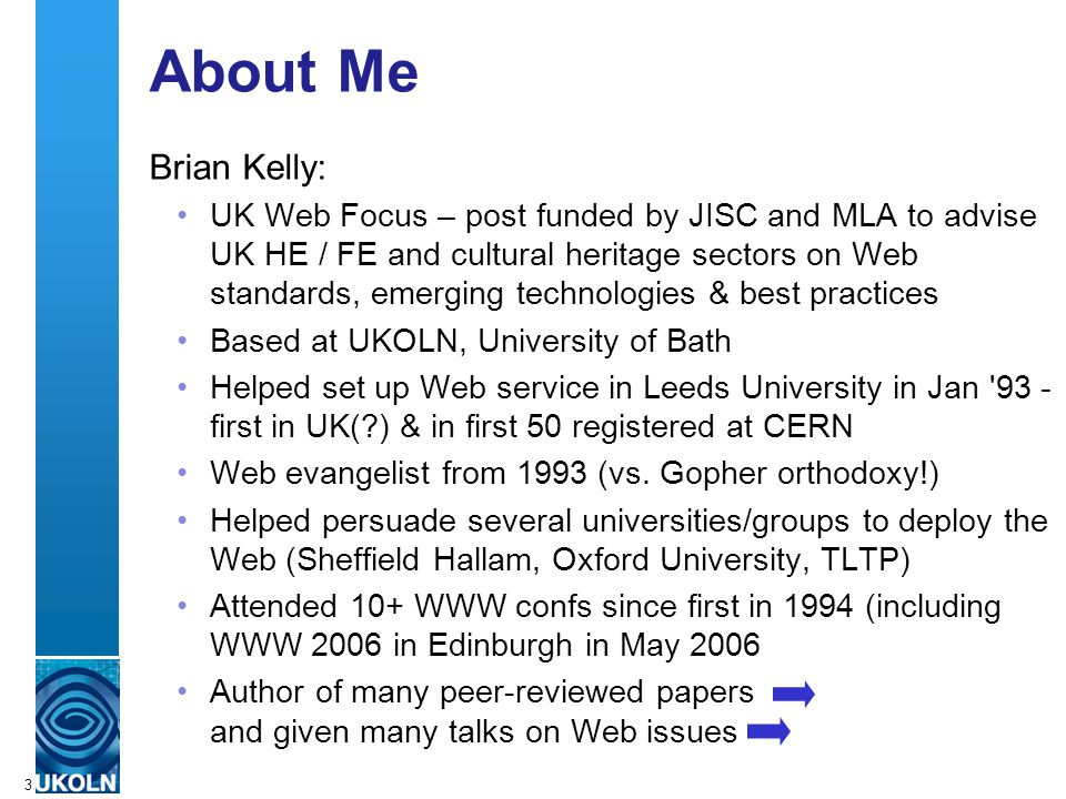 A centre of expertise in digital information managementwww.ukoln.ac.uk 44 http://creativecommons.org/ See Let s Free IT Support Materials! (EUNIS 2005 paper) as an example of what UK HE could be doing