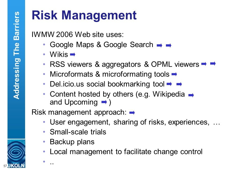 A centre of expertise in digital information managementwww.ukoln.ac.uk 57 Risk Management IWMW 2006 Web site uses: Google Maps & Google Search Wikis R