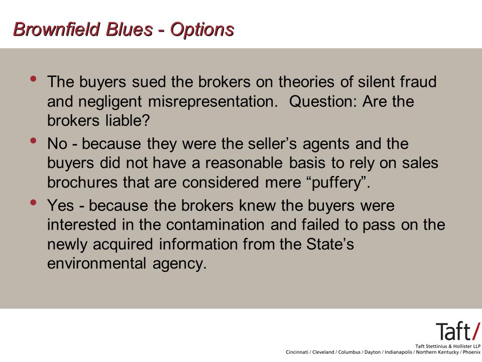Brownfield Blues - Options The buyers sued the brokers on theories of silent fraud and negligent misrepresentation.