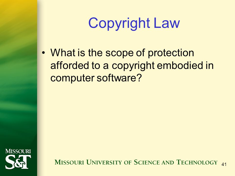 41 Copyright Law What is the scope of protection afforded to a copyright embodied in computer software?