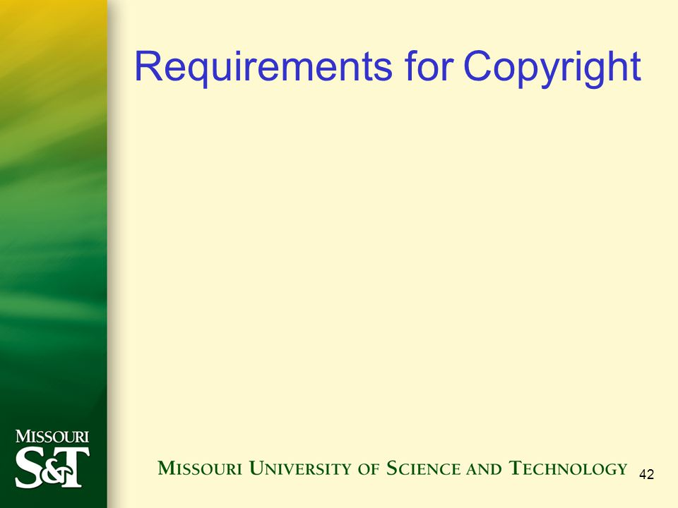 Requirements for Copyright 42